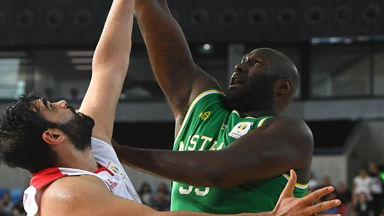 MELBOURNE, AUSTRALIA — NOVEMBER 30: Nate Jawai of the Boomers shoots during the FIBA World Cup Qualifier match between the Australian Boomers and Iran at Margaret Court Arena on November 30, 2018 in Melbourne, Australia. (Photo by Quinn Rooney/Getty Images)