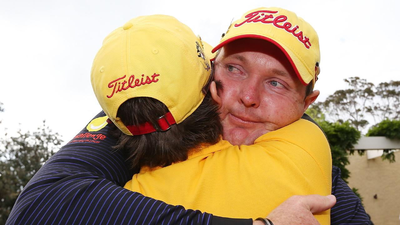 Jarrod Lyle hugs wife Briony. Picture: Getty