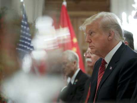 President Donald Trump listens to China's President Xi Jinping speak during their bilateral meeting at the G20 Summit on Saturday. Picture: AP