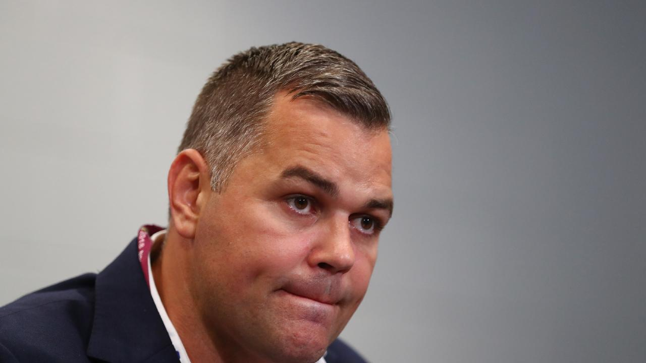 BRISBANE, AUSTRALIA - AUGUST 16: South coach Anthony Seibold speaks to media during a press conference after the round 23 NRL match between the Brisbane Broncos and the South Sydney Rabbitohs at Suncorp Stadium on August 16, 2018 in Brisbane, Australia. (Photo by Chris Hyde/Getty Images)