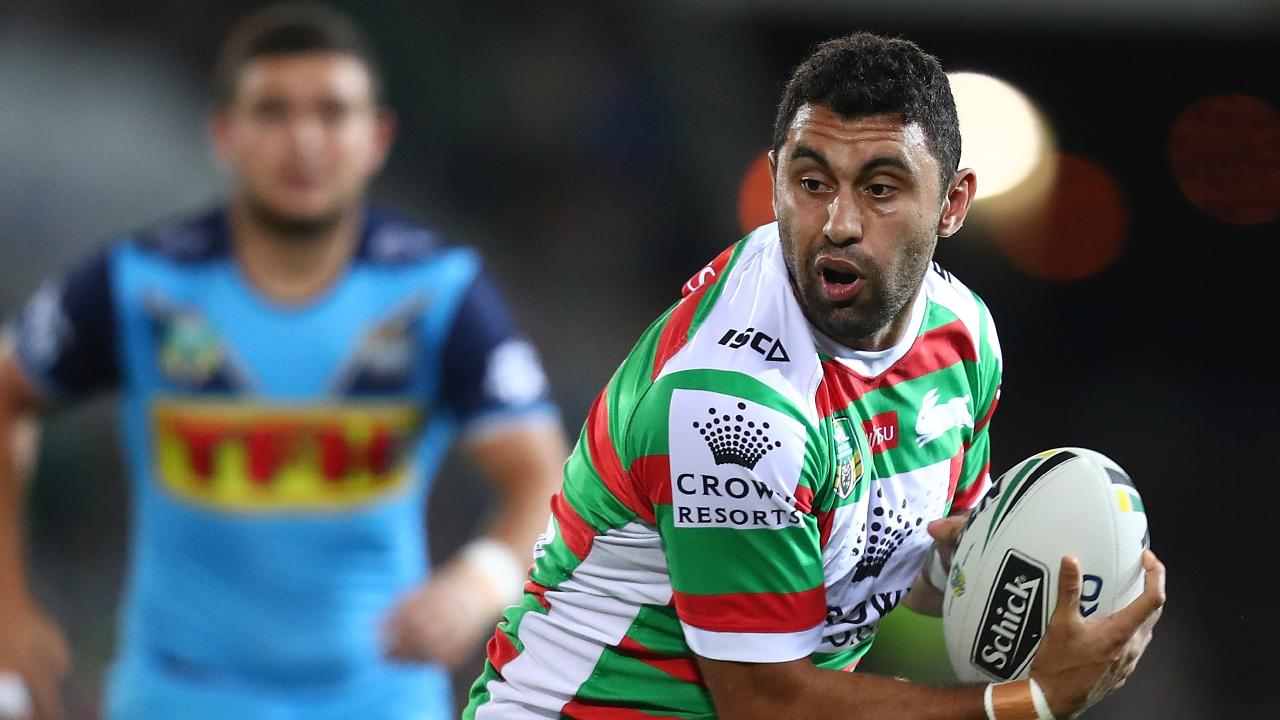 GOLD COAST, AUSTRALIA - JUNE 08: Alex Johnston of the Rabbitohs runs the ball during the round 14 NRL match between the Gold Coast Titans and the South Sydney Rabbitohs at Cbus Super Stadium on June 8, 2018 in Gold Coast, Australia. (Photo by Chris Hyde/Getty Images)