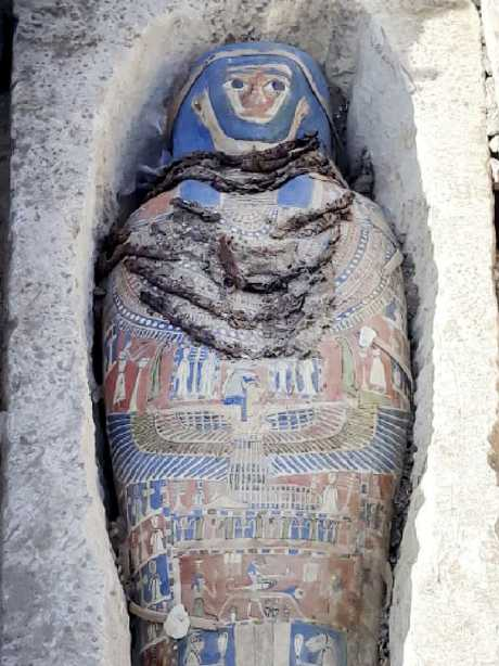 The painted mummy was found inside a sarcophagus in area of King Amenemhat II's pyramid. Picture: Egyptian Ministry of Antiquities via AP