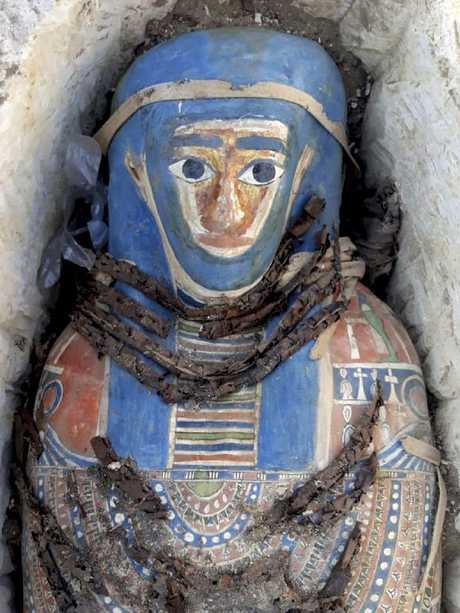 One of the ancient mummies covered with a layer of painted cartonnage. Picture: Egyptian Ministry of Antiquities via AP