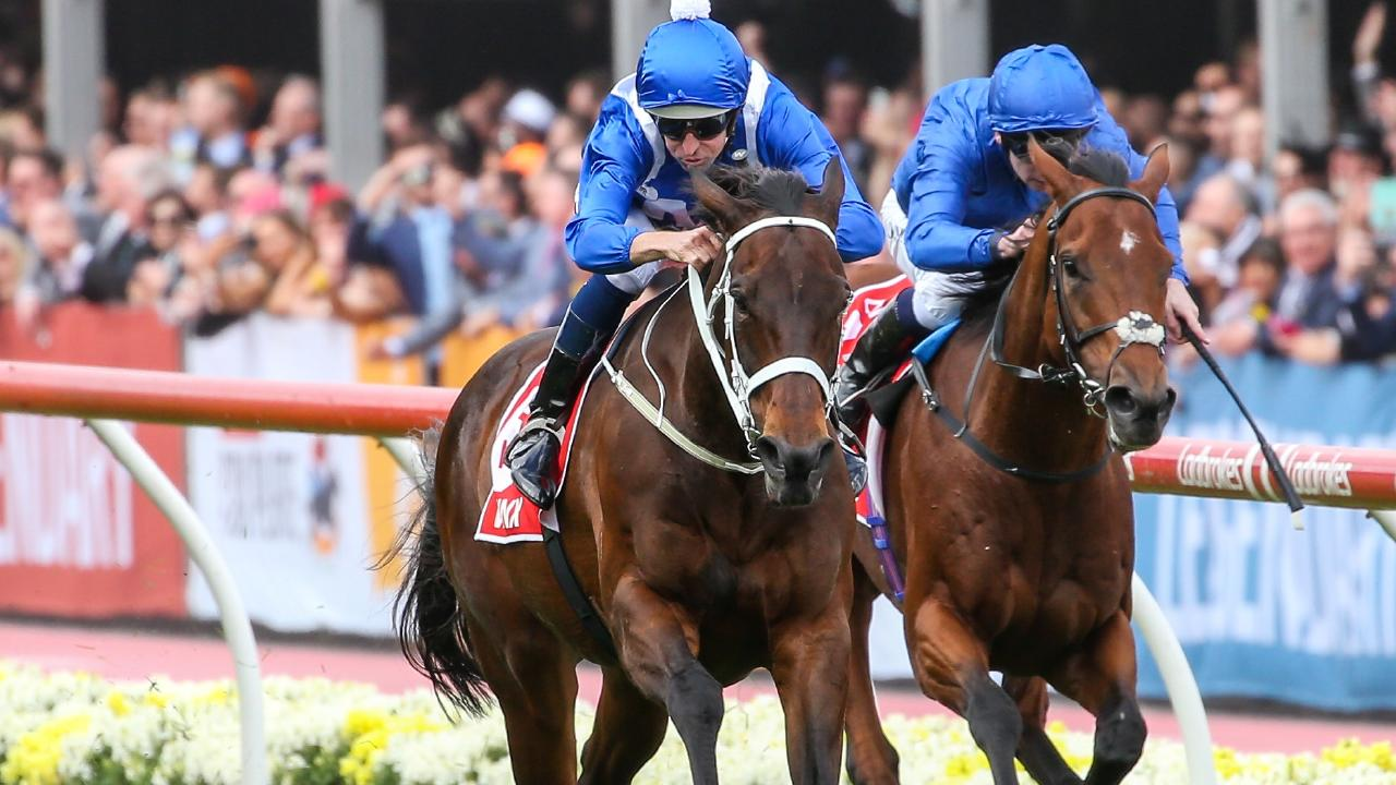 Winx ridden by Hugh Bowman wins the Ladbrokes Cox Plate at Moonee Valley Racecourse on October 27, 2018 in Moonee Ponds, Australia. (Pat Scala/Racing Photos via Getty Images)