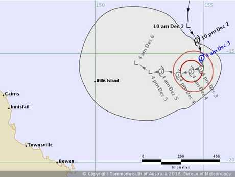 Tracking map for Cyclone Owen, 4.45am Monday