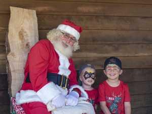 Christmas Tree harvest Finn and Jett Butel with Santa