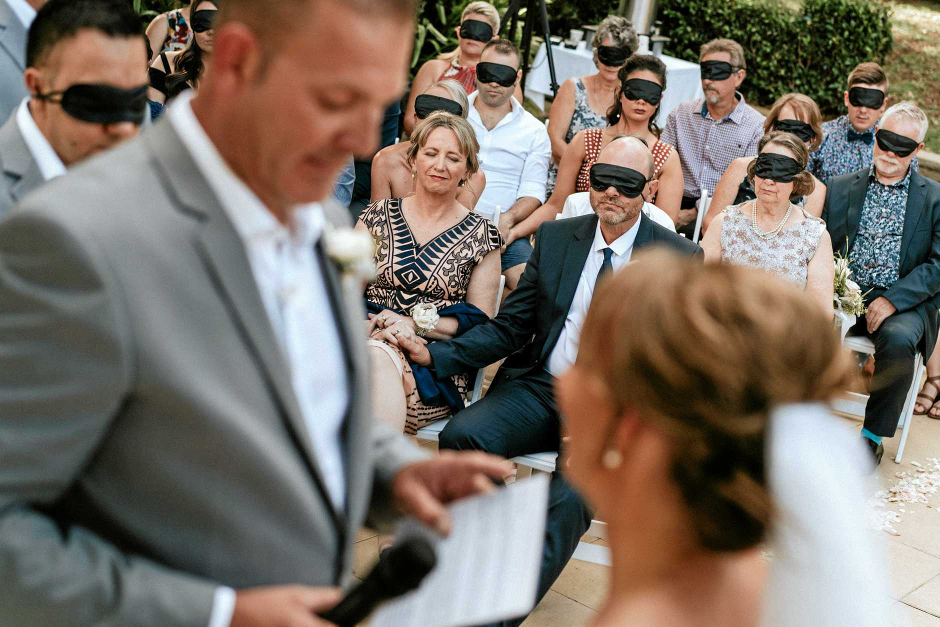 Guests were invited to slip on blindfolds while the vows were read to experience the moment how Steph was.