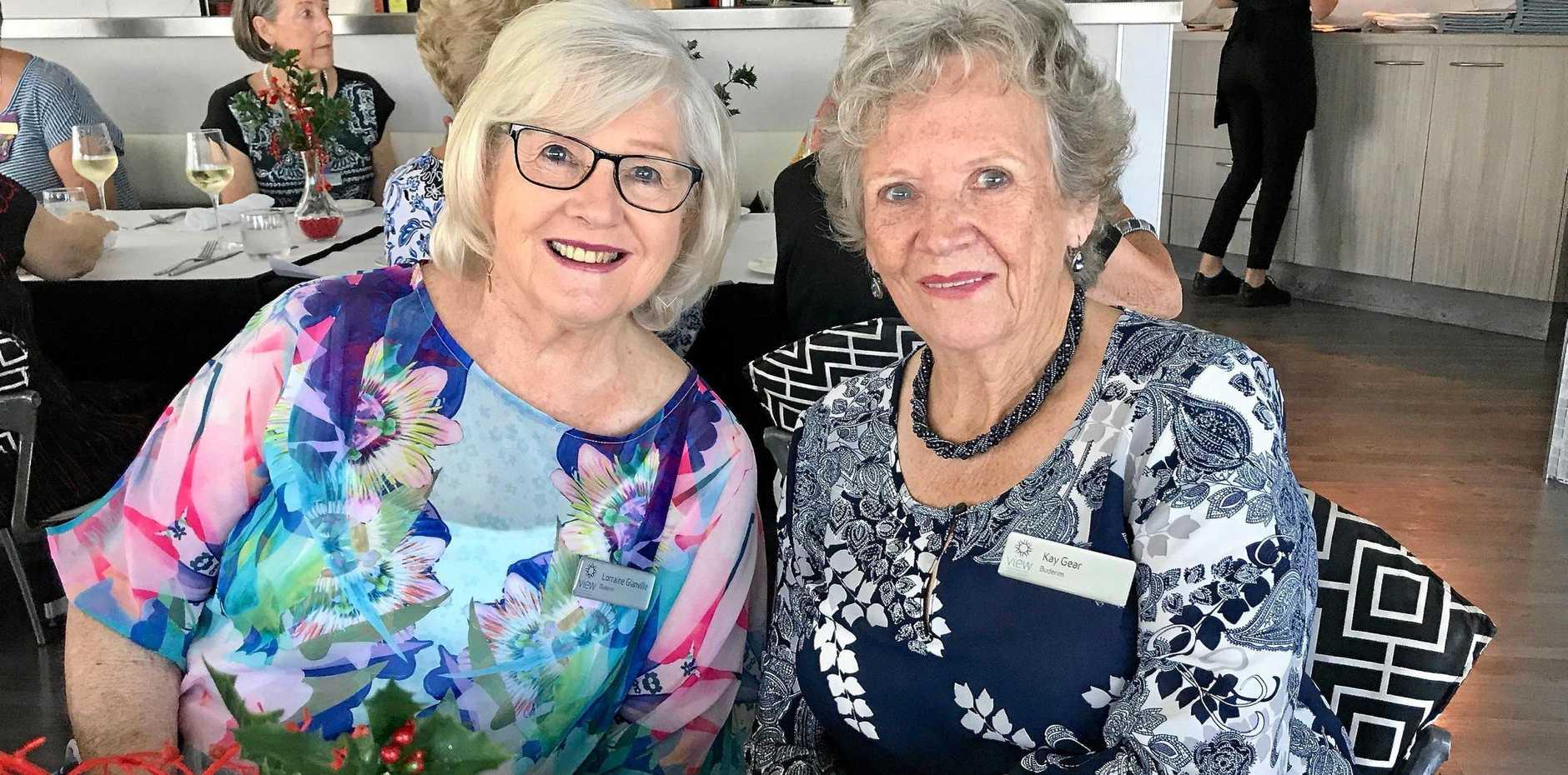 FESTIVE FUN: Lorraine Glanville and Kay Gear.