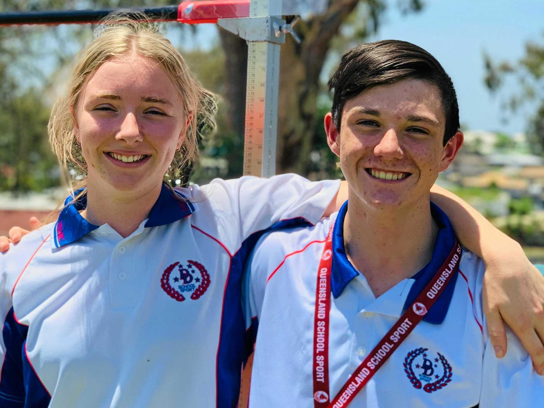 TOP JUMPERS: Lockyer District High School students Chantelle Brown and Aden Cowdroy will compete in Cairns this weekend.