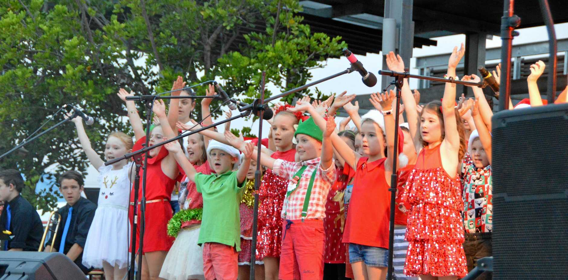 MERRY AND BRIGHT: St John's Lutheran School students on stage at the Kingaroy Christmas carols 2018.