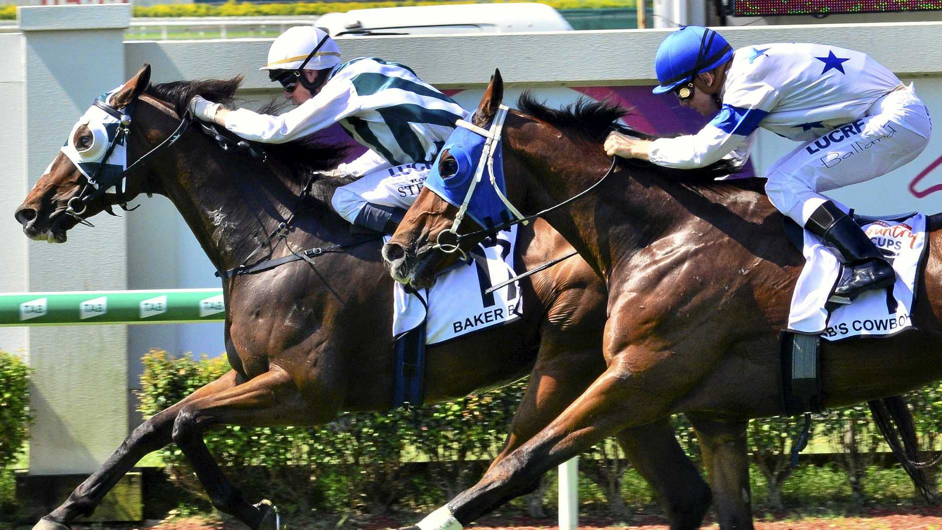 Brenton Andrew's Baker Boy, ridden by Ron Stewart, takes out the inaugural Country Cups Challenge at Doomben.