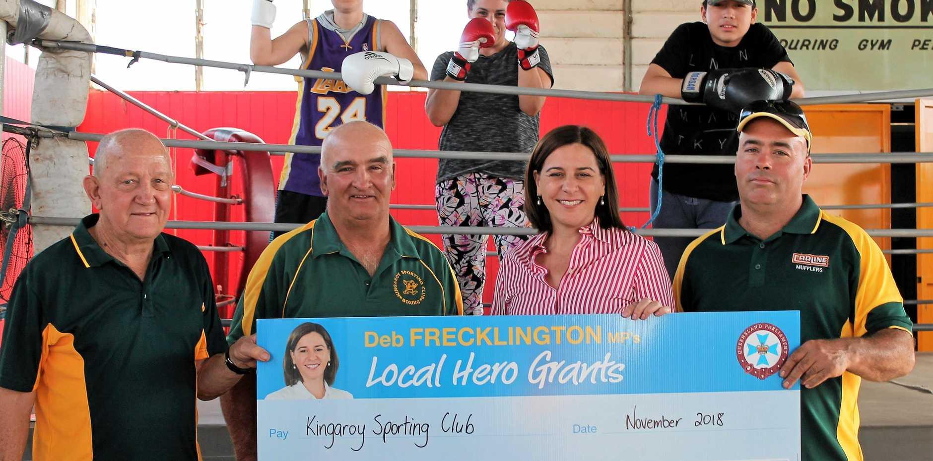 Member for Nanango, Deb Frecklington, congratulated the Kingaroy Sporting Club on their funding success. From l to Lenny Hams, Gary Tessmann, Deb Frecklington and President, Dan.