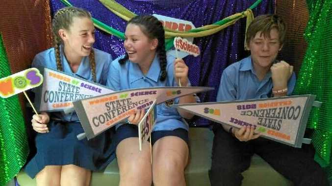 WONDERS: Annabel Flower, Tamarlia Storch and Edward Schefe celebrate their success at the University of Queensland Wonder of Science competition.