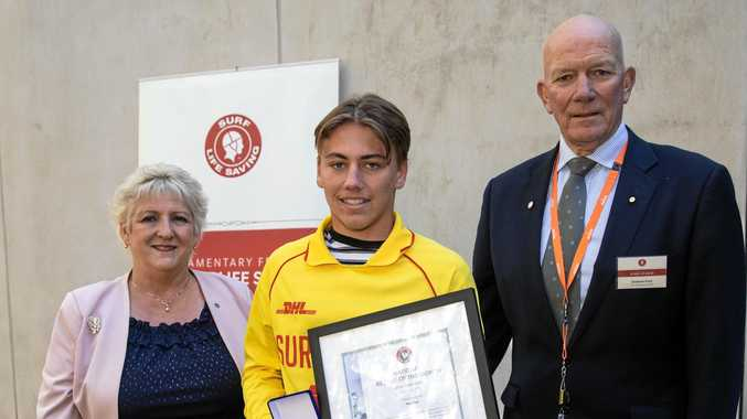 HERO: Max Tapp was awarded Rescue of the Month for July/August at Parliament House yesterday.