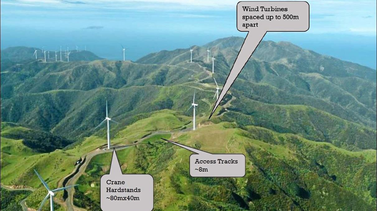 An example of the wind farm layout for the proposed Clarke Creek project.