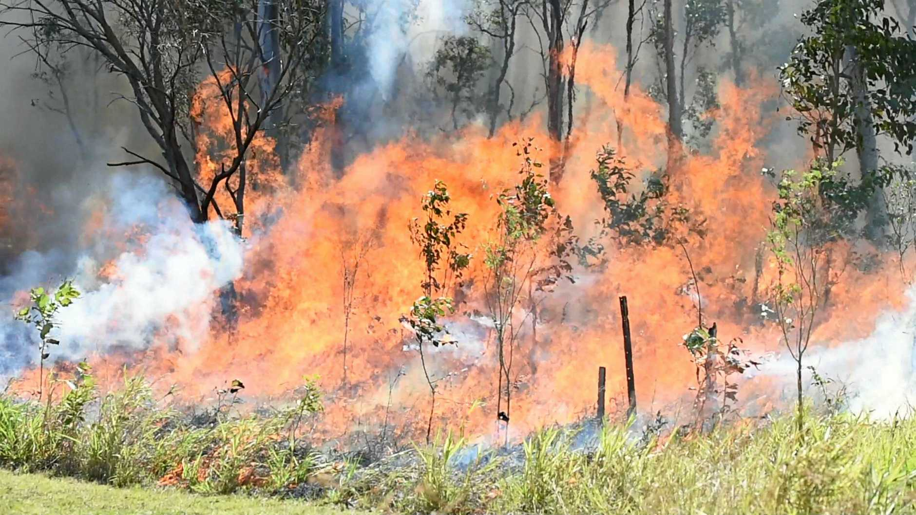 FILE PHOTO: A bushfire in scrub in Maryborough.