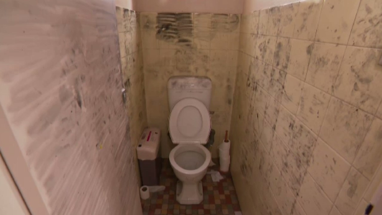 It's believed he was in the toilet cubicle with the little girl for up to 30 minutes. Picture: Nine News