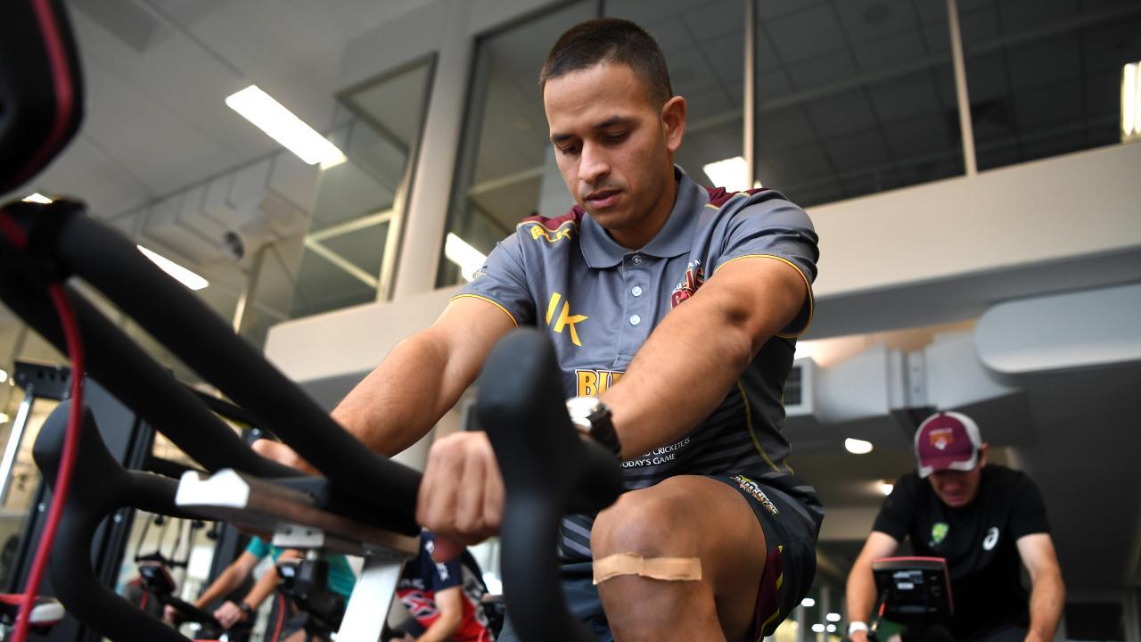 Khawaja rehabing his knee in Queensland. Picture: AAP