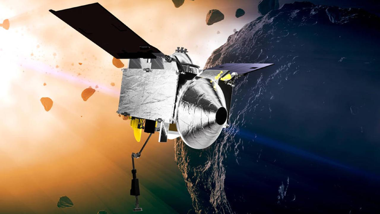 An artist's drawing of OSIRIS-REx nearing Bennu