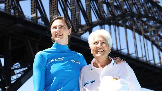 Cate Campbell and Dawn Fraser at the Australia Swims launch at North Sydney Olympic Pool. Picture: Getty Images