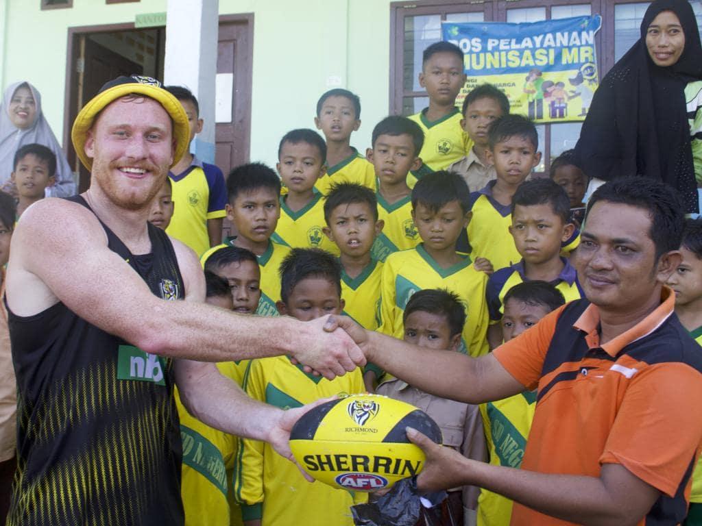 Nick Vlastuin on the trip to Sumatra. Picture: Richmond football