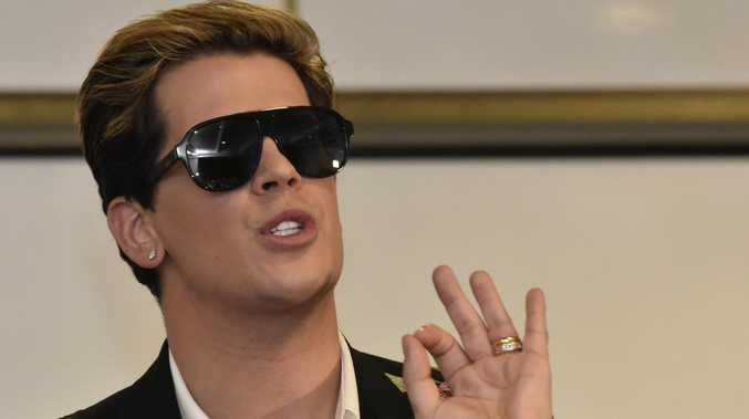 Milo Yiannopoulos speaks during an event hosted by senator David Leyonhjelm at Parliament House in 2017.