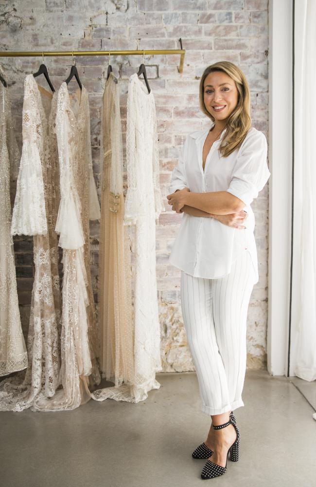 Sydney designer Jess Andreatta has created the wedding gown for Jasmine Yarbrough and Karl Stefanovic's wedding. Picture: Dylan Robinson