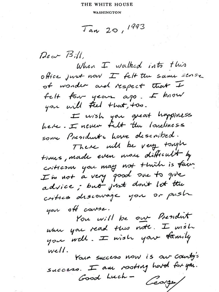 George H W Bush's letter to Bill Clinton.