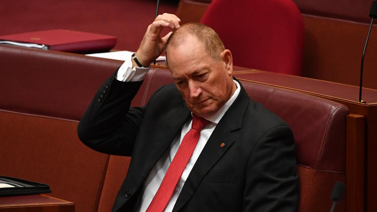 Independent Senator Fraser Anning during Question Time in the Senate chamber at Parliament House in Canberra. File picture