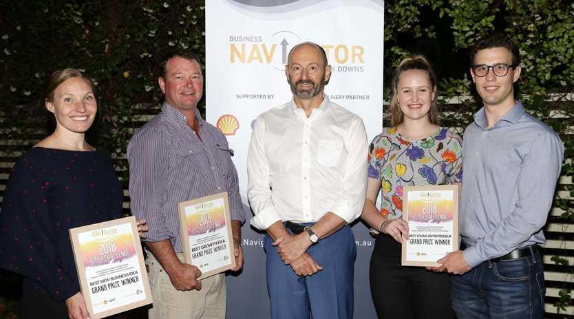 L-R Naomi Gearon, David Abbott, National Social Performance Manager Simon Nish, Bridget Ward, George Harris. Business Navigator Western Downs. Pitch Challenge Finals Night.