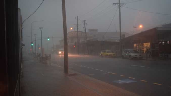 Rain buckets down in Maryborough just after 2pm on Tuesday, December 4. Bazaar St