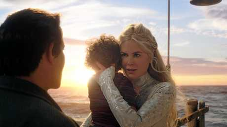Temuera Morrison and Nicole Kidman in a scene from the movie Aquaman. Supplied by Warner Bros.