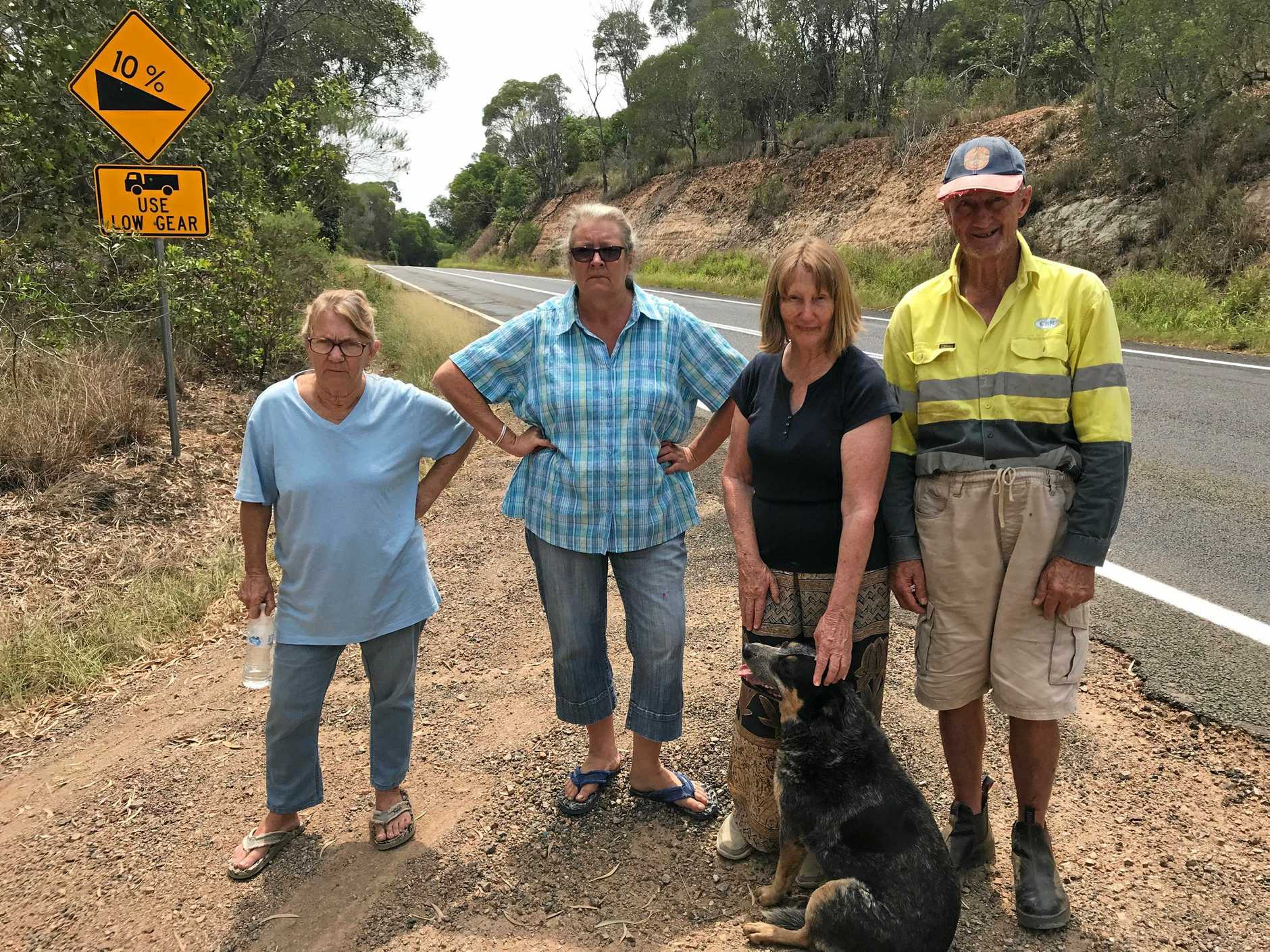 SAFETY CONCERNS: Christine Harding, Jo Hanson, Evelyn Ness Wilson, Bill Ness Wilson and Buster the dog want to see access to their Blackbutt homes become safer.