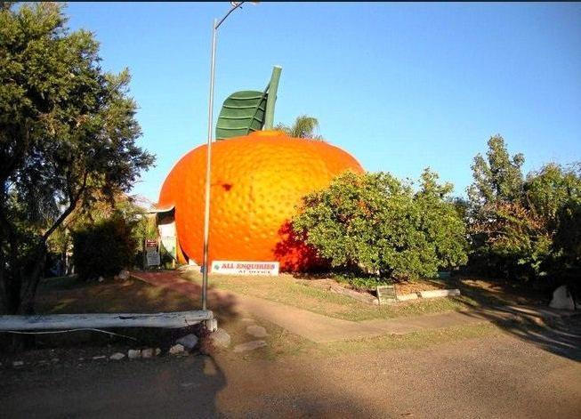 BIG FRUIT: A caravan hosting Mundubbera's Big Mandarin is currently for sale.