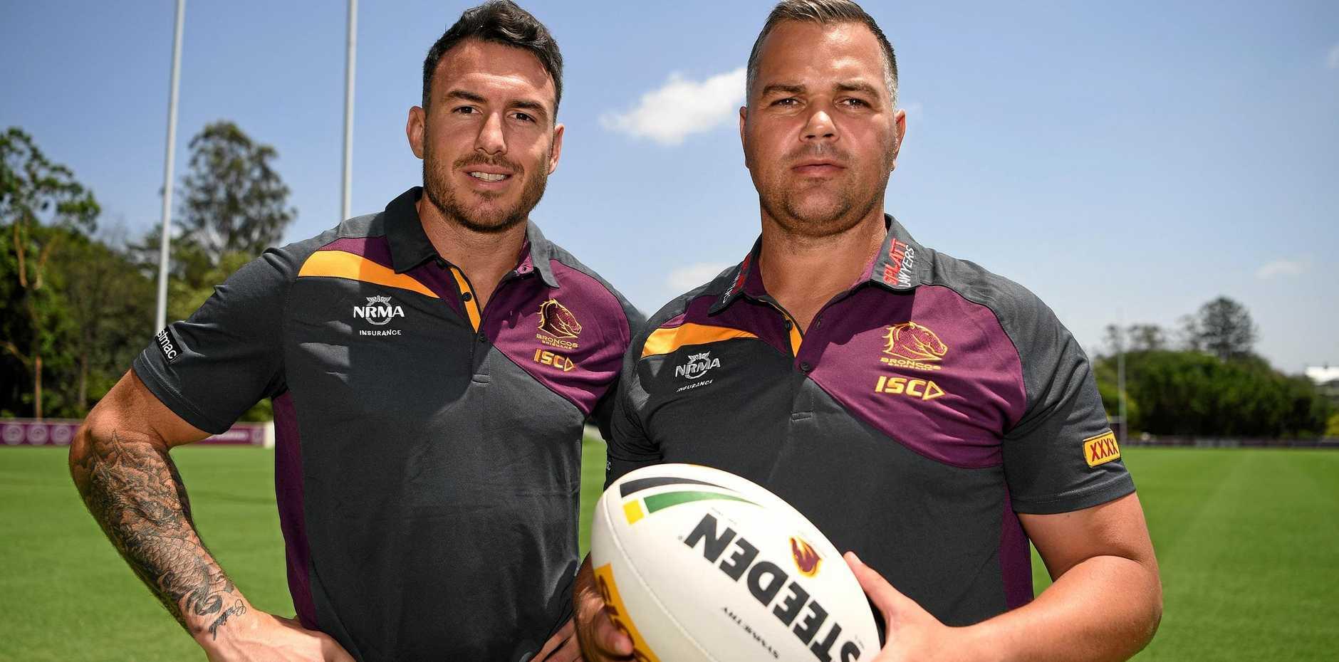 NEW ERA: Brisbane Broncos new head coach Anthony Seibold (right) and captain Darius Boyd.