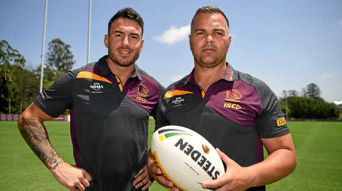Brisbane Broncos new head coach Anthony Seibold (right) and Captain Darius Boyd pose for a photo after a press conference in Brisbane on December 3, 2018. Seibold replaced Wayne Bennett who took over Seibold's coaching position at the South Sydney Rabbitohs.