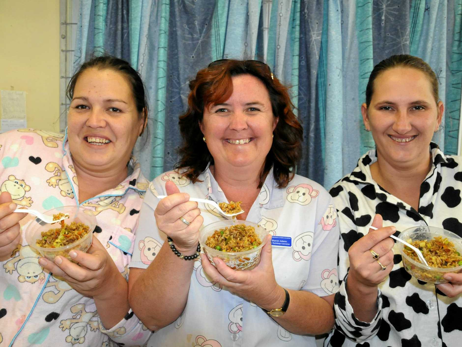 Chatsworth State School Pajama Day raising funds for a Cambodian Orphanage.  Tuckshop PJ Ladies made Cambodia's staple of fried rice for sale at the tuck shop to raise funds to purchase books for the children at the orphanage.   Photo Tanya Easterby / The Gympie Times