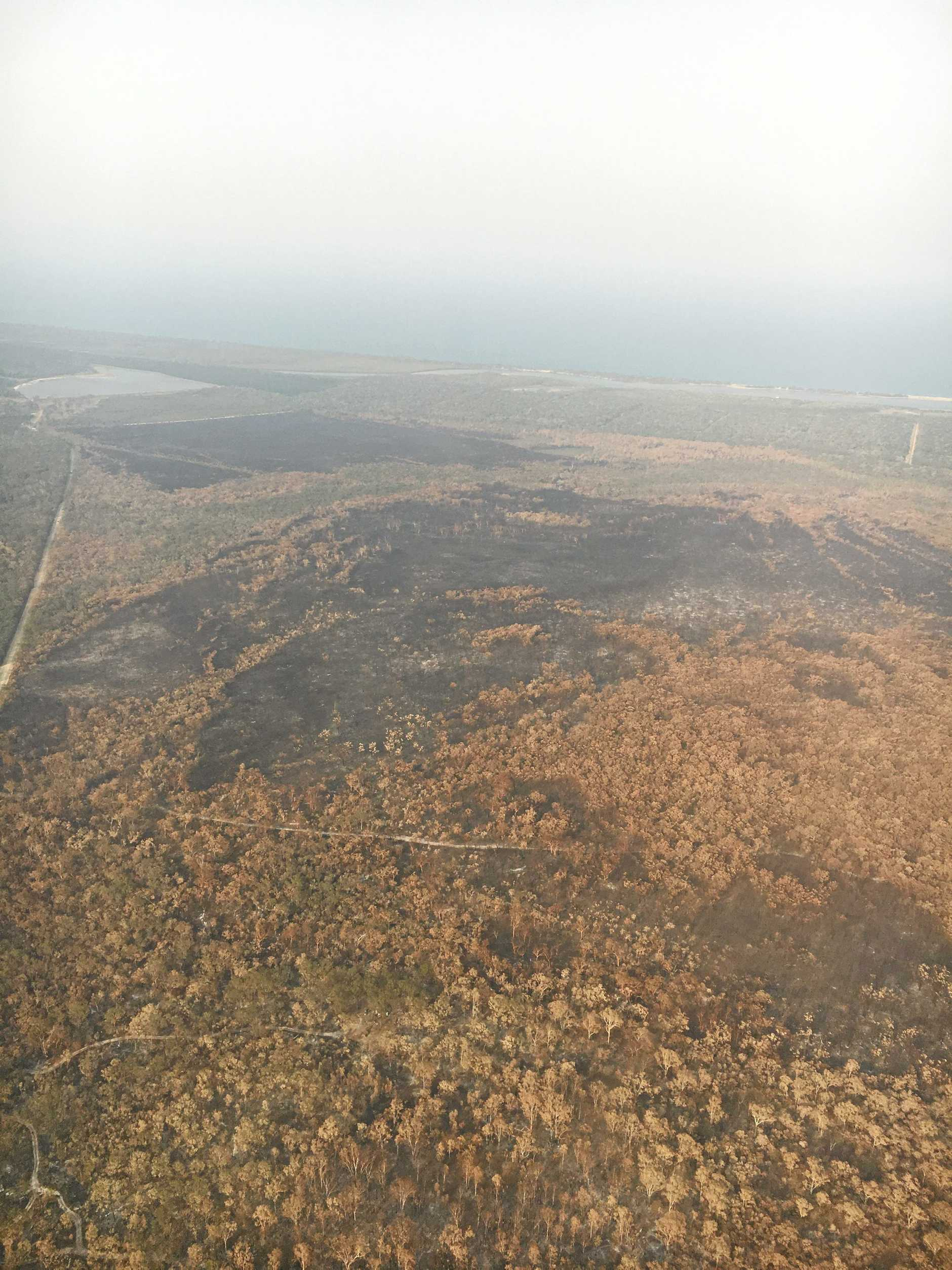 Gladstone Regional Council mayor Matt Burnett took photos of the Deepwater area while inspecting the bushfire zone on Monday. Pictured is Deepwater looking east toward Broadwater Conservation Park.