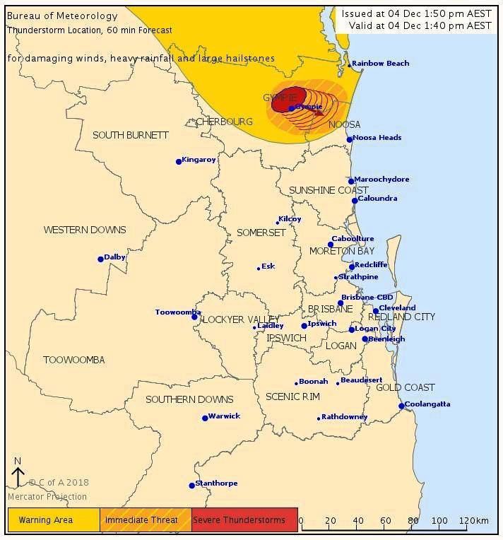 Tuesday 1.50pm: Gympie is in the line of fire as a severe storm approaches the region.