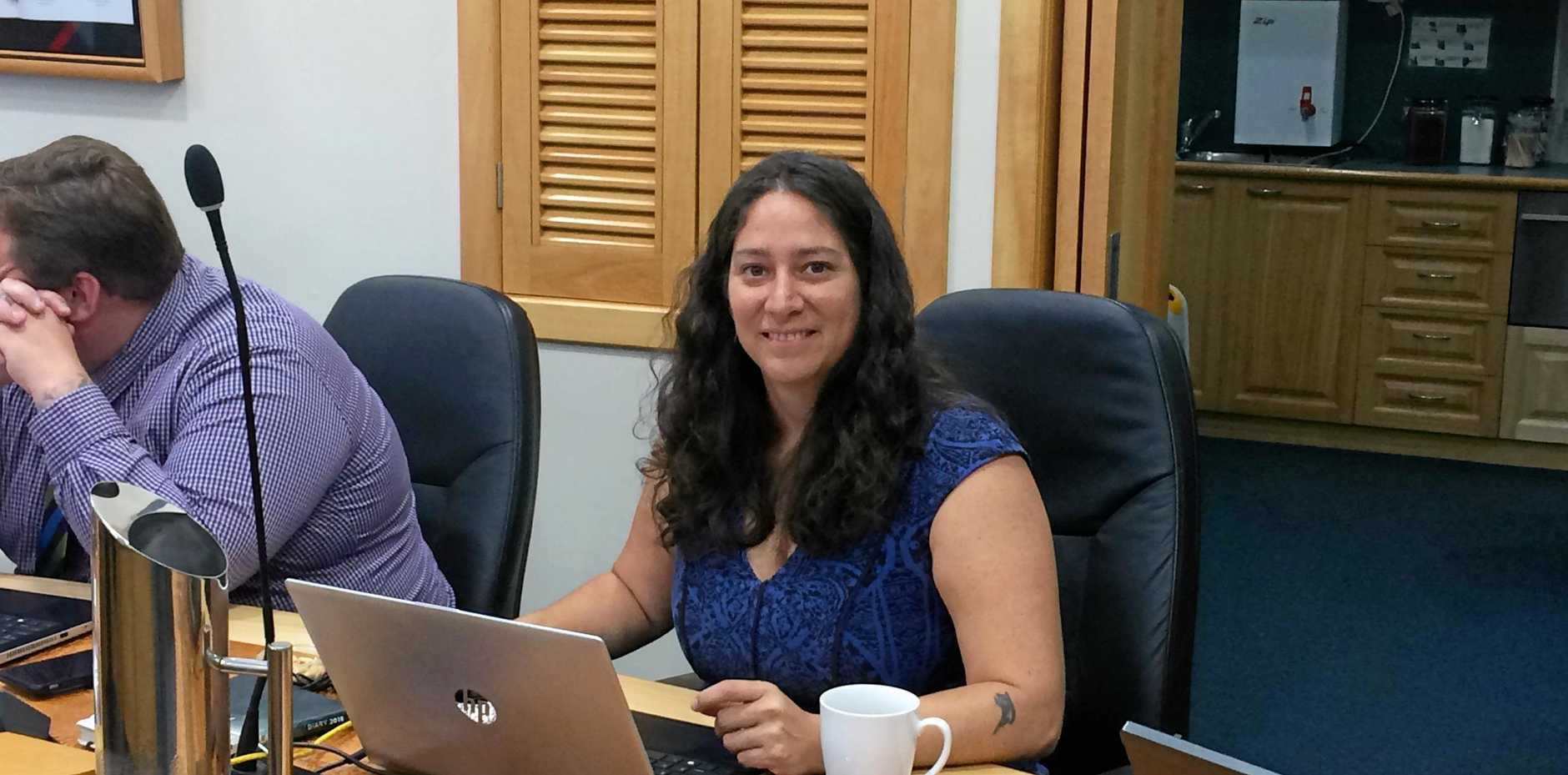 BUSY: Cr Natalia Muszkat at her first Gladstone Regional Council meeting yesterday.