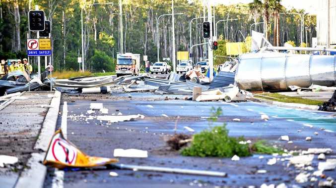 Water tank collapse at Sunshine Coast University Hospital, Kawana Way. The scene was described by witnesses as being like a tsunami.  Photo: Che Chapman / Sunshine Coast Daily