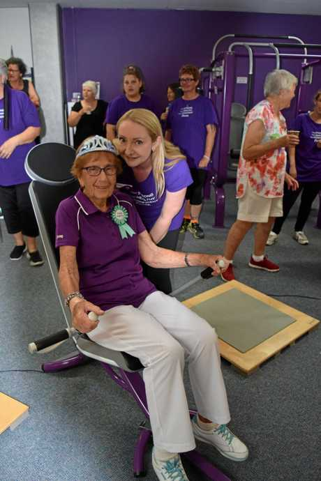 Curves Maryborough coach Deb Bazan with member Betty Ross who celebrated her 90th birthday with her gym family.