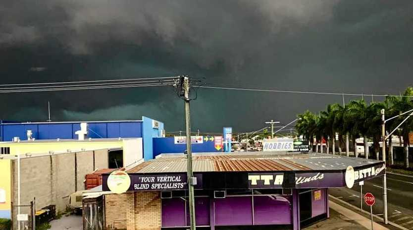 Dark clouds descended on Rockhampton moments before the severe thunderstorm struck.