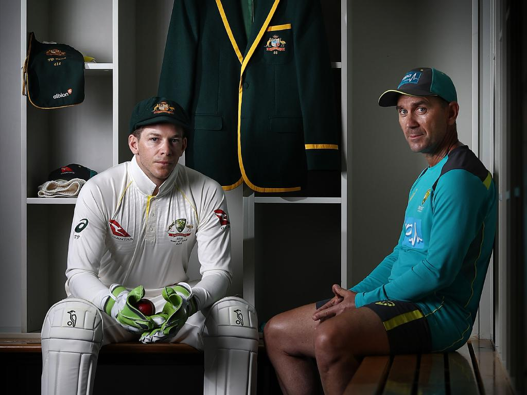Australian Test cricket captain Tim Paine and coach Justin Langer. Picture: Getty Images