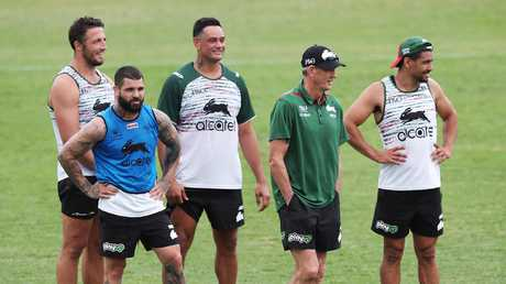 Wayne Bennett with some of the Souths stars at training. (Phil Hillyard)