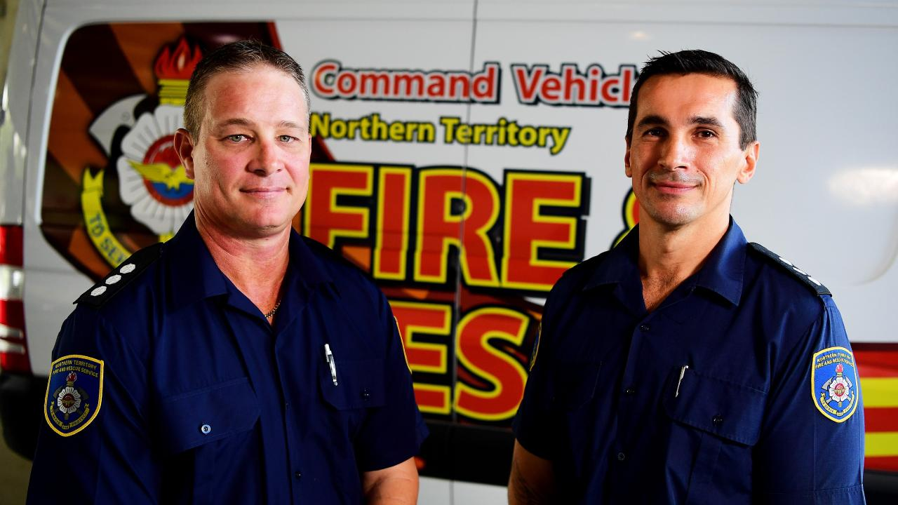 NT Fire and Rescue senior station officers Brendon Magnoli and Jeffrey Whittakerare making their way to Queensland today to assist with the operations. Picture: Justin Kennedy