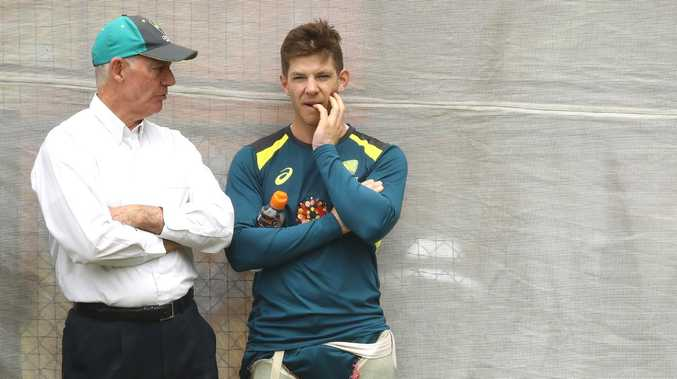 Tim Paine with selector Greg Chappell during Australia's net session. Picture: Getty Images