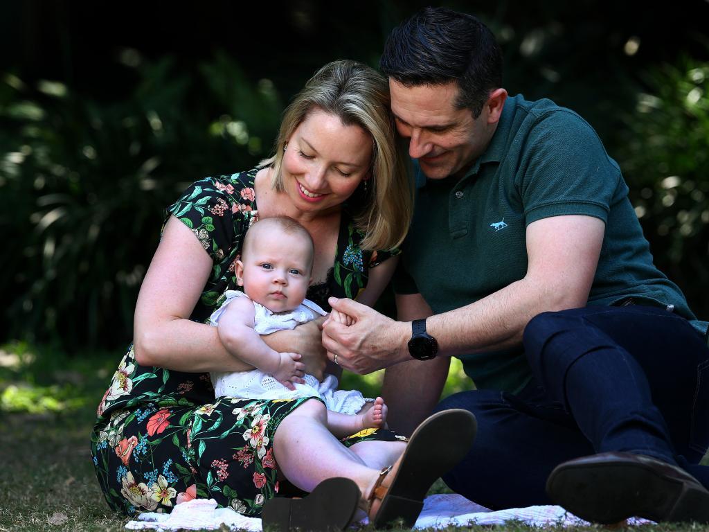 Journalist Lauren Martyn-Jones with her husband Matthew  and  daughter Lillian. Picture:  Adam Head