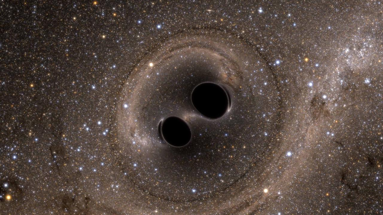 An artist's impression obtained of the biggest known black-hole collision. Picture: AAP/Supplied by the Australian National University