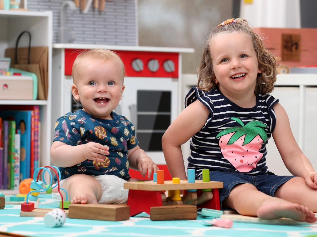 Max Butler, 10 months, and Amelia Butler, 3, will not be given electronic devices for Christmas. Picture: Tara Croser.